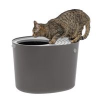 IRIS USA, Top Entry Cat Litter Box, Dark Gray/White