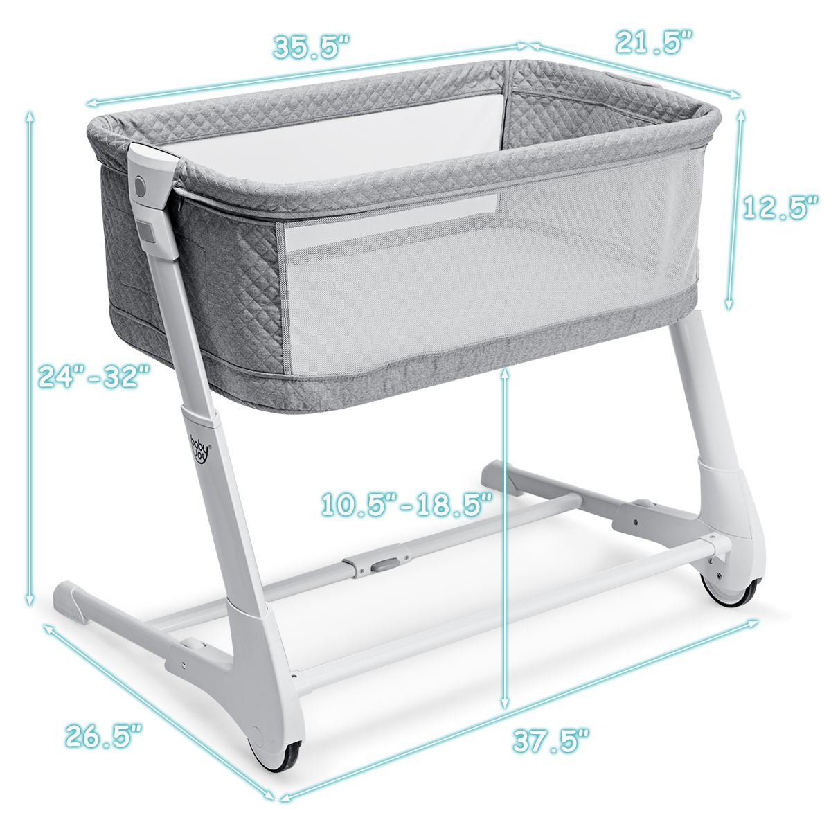 Baby Bassinet Bre Lightweight Rocking Crib with Detachable /& Washable Mattress