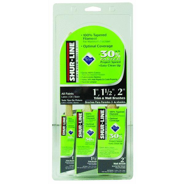 Shur-Line Shur-Flow 3-Piece Paint + Primer Non-Stick Polyester Paint Brush Set