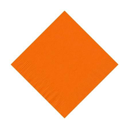 50 Plain Solid Colors Beverage Cocktail Napkins Paper - Orange