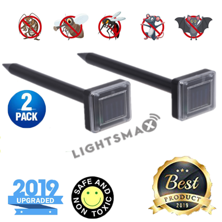 2018 NEW LIGHTSMAX Mole Repellent - Solar Powered Outdoor Lawn Garden Pest Control - Rodent Repellent Ultrasonic Pest Repeller – Gopher Vole Deterrent Chaser Spike Gopher Pest Control