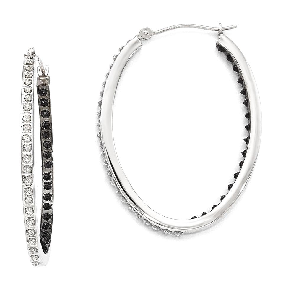 ICE CARATS 14kt White Gold Diamond Fascination B W Oval Hinged Hoop Earrings Ear Hoops Set Fine Jewelry Ideal Gifts For Women Gift Set From Heart