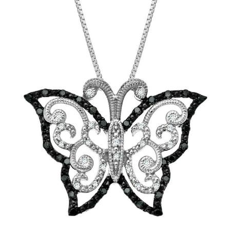 1/4 ct Black & White Diamond Butterfly Pendant Necklace in Sterling Silver Diamond Butterfly Pendant Jewelry