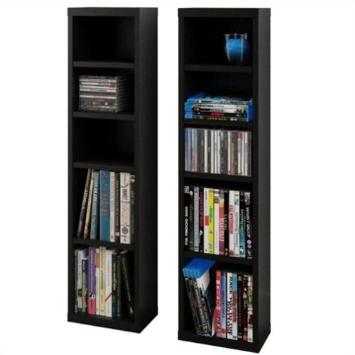 "Nexera Sereni-T 38"" CD DVD Storage Towers in Black (Set of 2)"