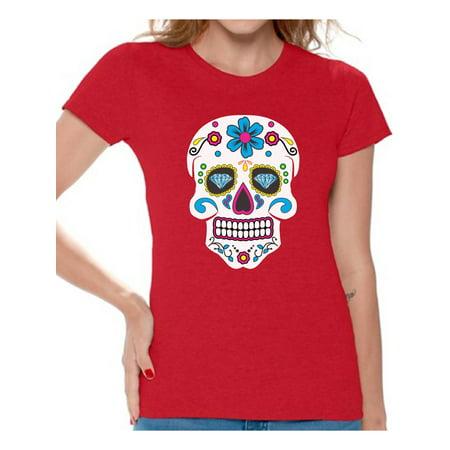 Awkward Styles Women's Colorful Skull Graphic T-shirt Tops Candy Skull Dia De Los - Dia De Los Muertos Couple Costume