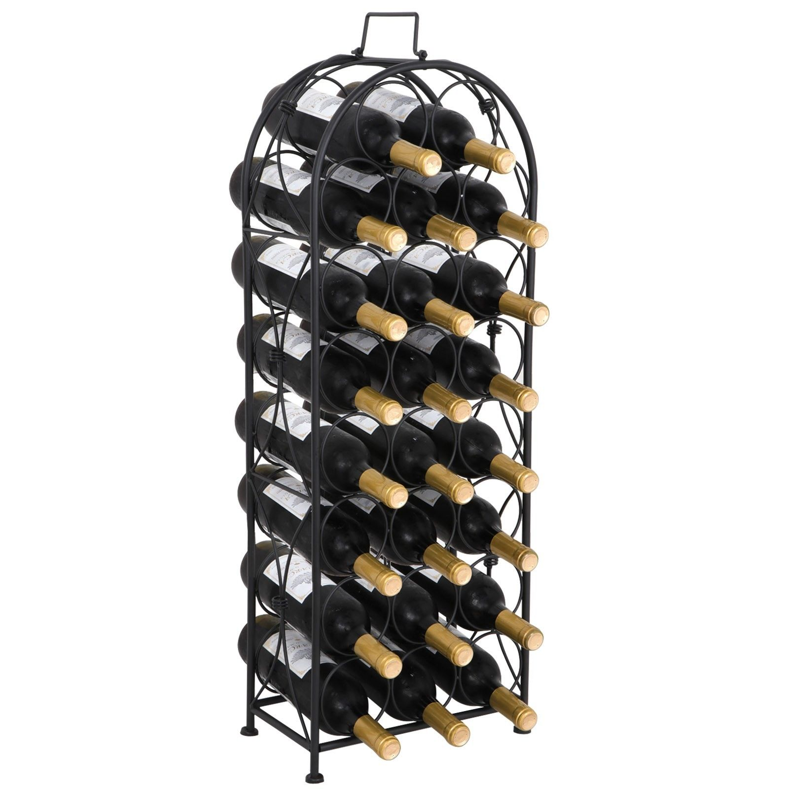 Zeny Black 23 Bottle Wine Rack Arched Top Free Standing Floor Wine Storage Rack Display Shelves