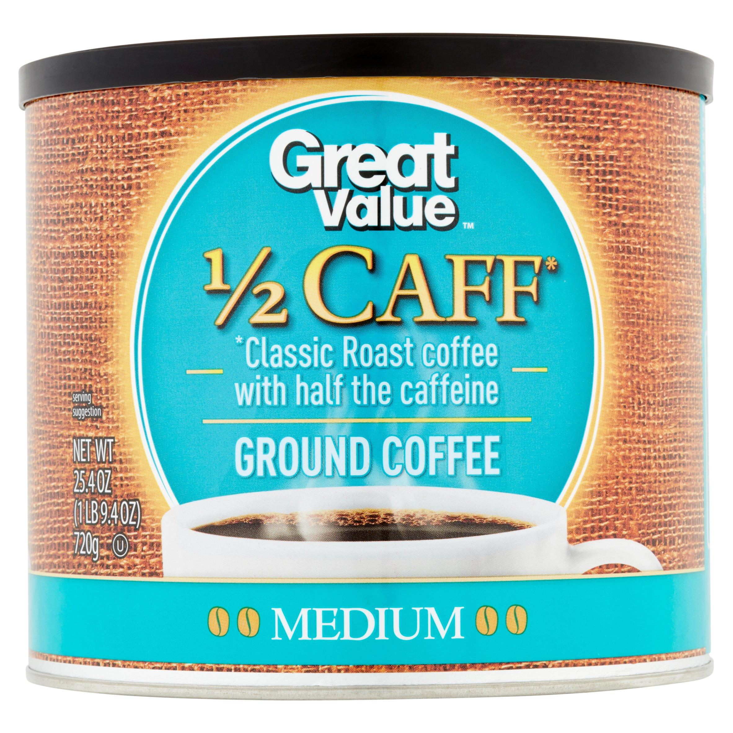 Great Value 1/2 Caff Ground Coffee, Medium Roast, 25.4 oz