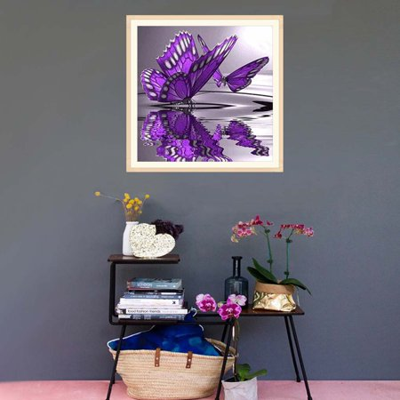 outdoorline 5D Diy Crystal Diamond Painting Purple Butterfly On The Water Round Rhinestone Handcraft Cross Stitch Room Decoration - image 3 of 9