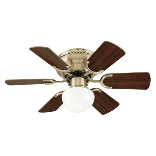 "Westinghouse 7215800 30"" Antique Brass & Walnut/Oak Petite Indoor Ceiling Fan With Light Kit"