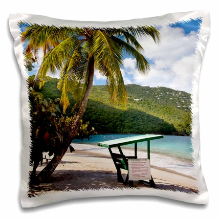 3dRose Beach, Lifeguard post, St Thomas, US Virgin Islands - CA37 BJN0001 - Brian Jannsen, Pillow Case, 16 by