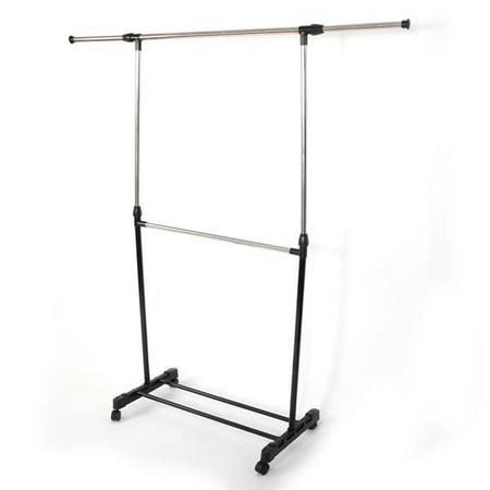 Single-bar Horizontal-stretching Stand Clothes Rack Black Horizontal Storage Racks