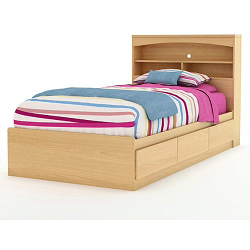 South Shore Popular Twin Mates Bed Bookcase Headboard Natural Maple
