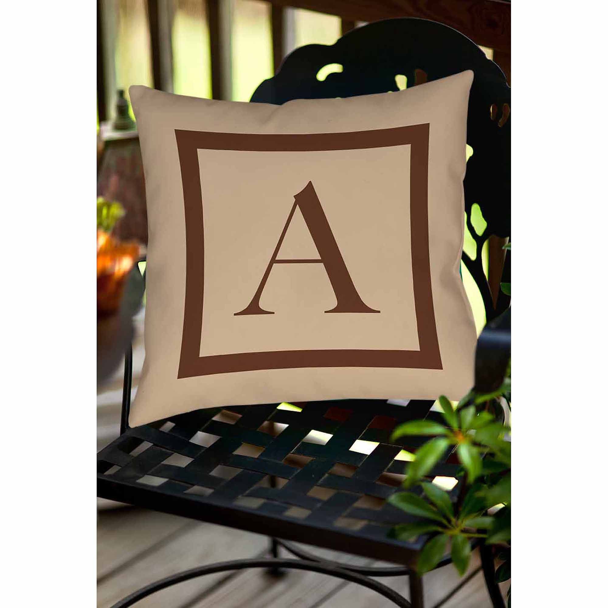 Thumbprintz Classic Block Monogram Decorative Pillow, Caramel