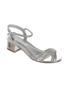 978ebdb57605 Product Image Girls Silver Sparkle Rhinestone Strap Buckle Block Heel  Sandals