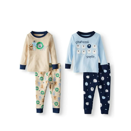 Wonder Nation Cotton Tight Fit Pajamas, 4-piece Set (Baby Boys)