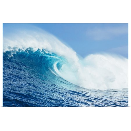 Great BIG Canvas | Rolled MakenaStock Media Poster Print entitled A large ocean wave breaks at the big wave spot know as Jaws or Peahi, Maui,