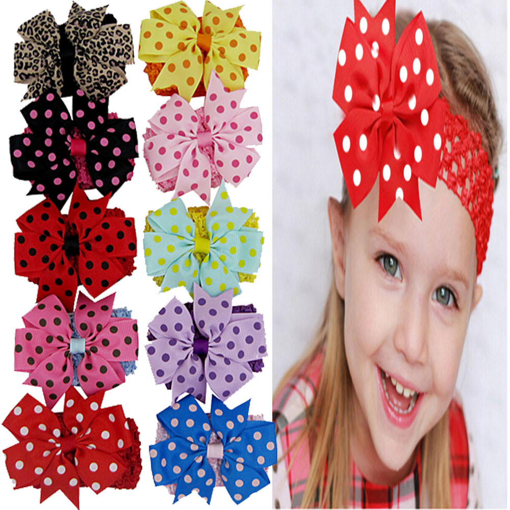 Outtop 10PCS Newborn Baby Girl Hairband Elastic Wave Point Bowknot Photography Headband