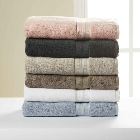 Hotel Style Pima Cotton 2 PC Bath Towel Set, Grey Stone