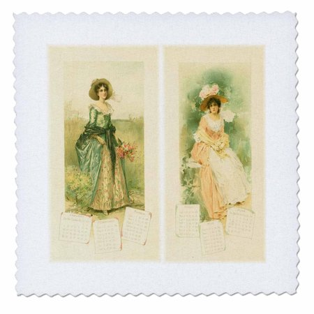 3dRose Victorian Calendar Ladies - Quilt Square, 10 by 10-inch