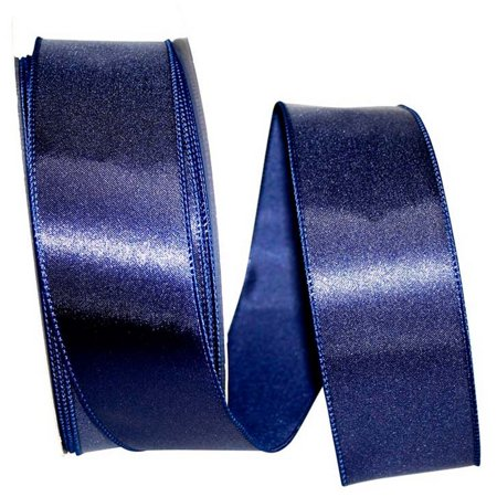 JAM PAPER® Solid Satin Wired Edge Ribbon - Navy - 2/Pack