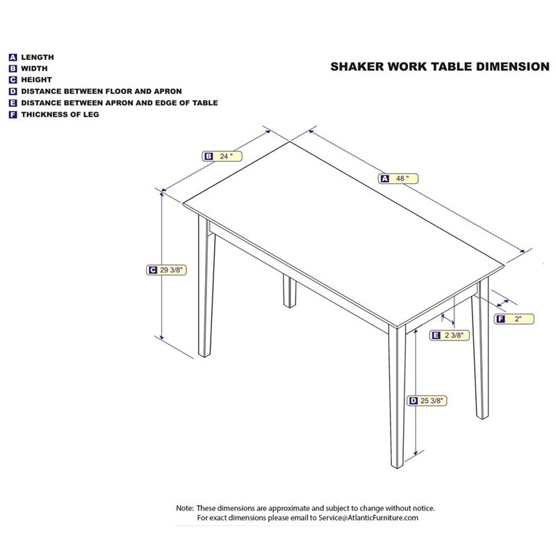 Atlantic Furniture Shaker Work Table in Caramel Latte