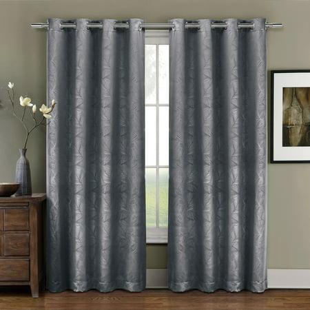 - Prairie Blackout Weave Embossed Grommet Curtains Panels Leafy designs Embossed (Single) - 52x84 - Gray
