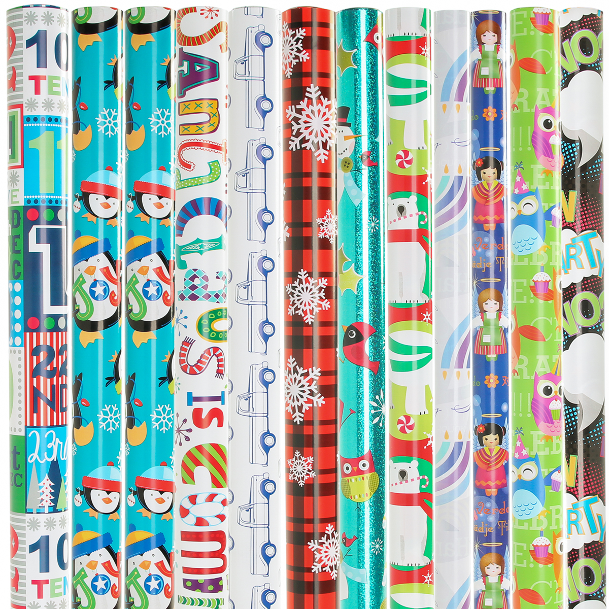 Wrapping Paper (12 Pack) with Variety Christmas Wrapping Paper, Xmas Wrapping Paper Rolls, All Occasion Party Supplies Gift Wrap Paper