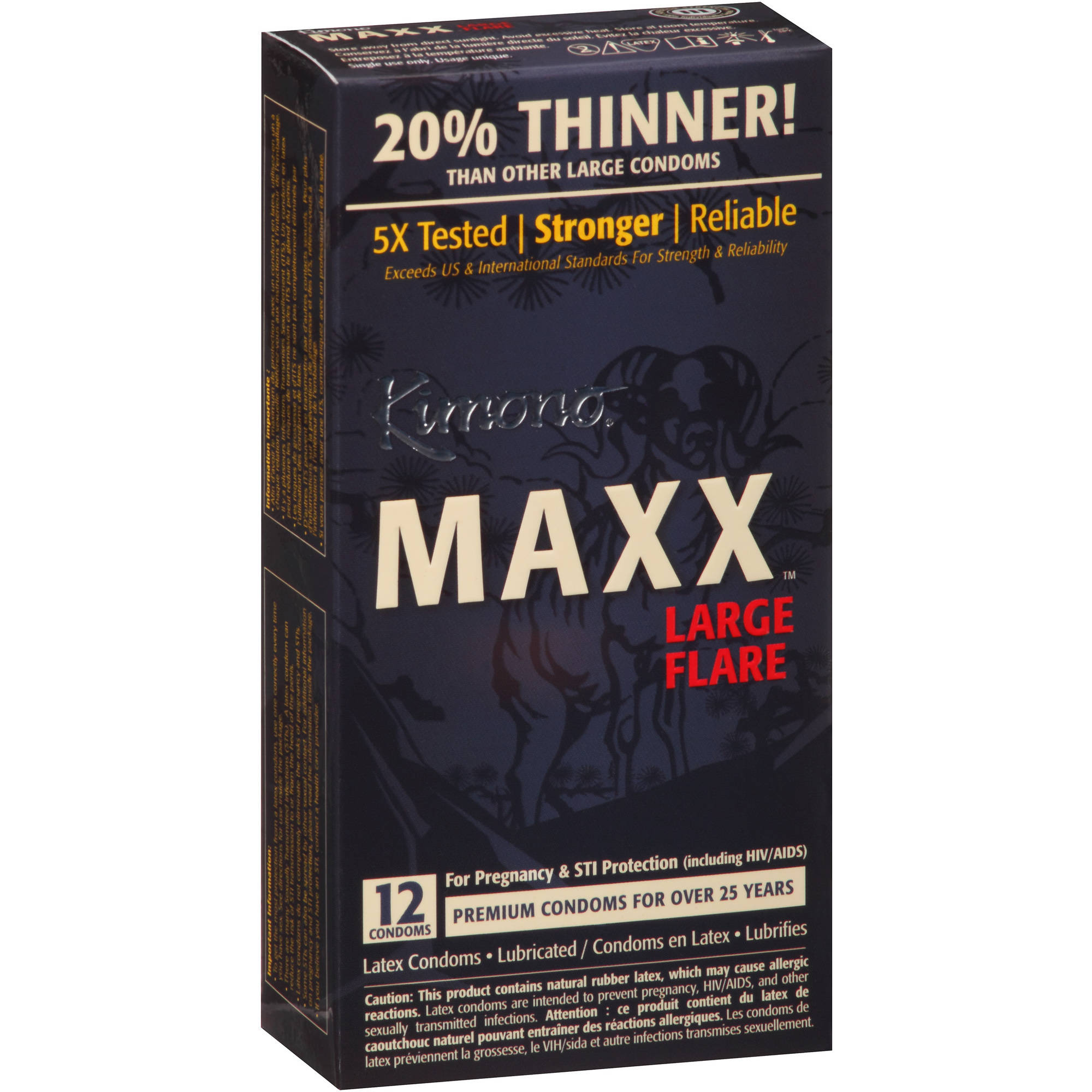 Kimono Maxx Large Flare Flare Lubricated Latex Condoms - 12 ct