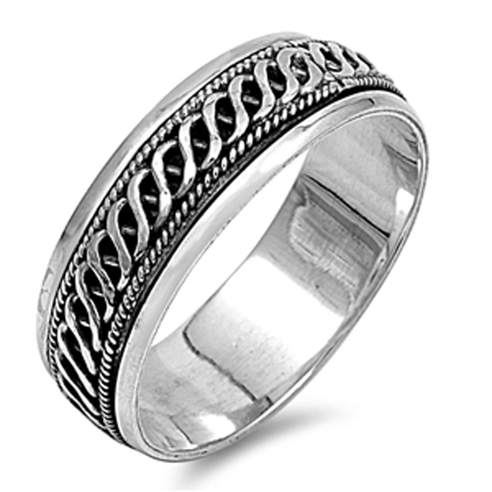 Men's Celtic Weave Spinner Wedding Ring ( Sizes 6 7 8 9 10 11 12 13 ) New .925 Sterling Silver Band Rings by Sac Silver (Size 9)