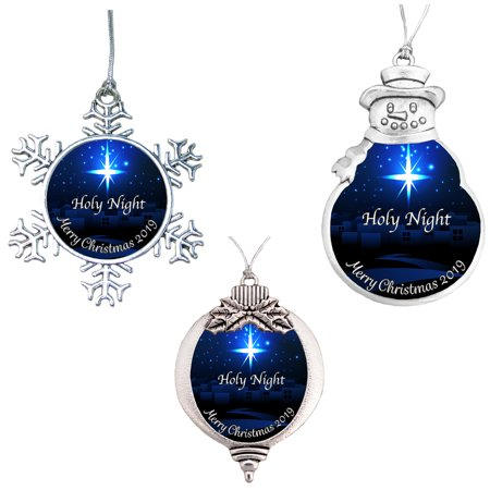 Holy Night Religious Merry Christmas 2019 Ornament Gift ()