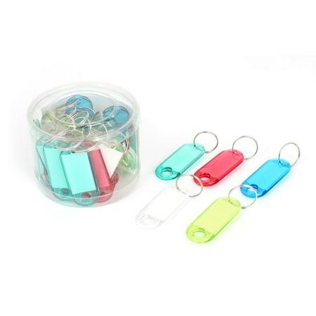 30 x Colorful Plastic Small Photo Name Tag Clip Holder Handbag Keyring Decor ()
