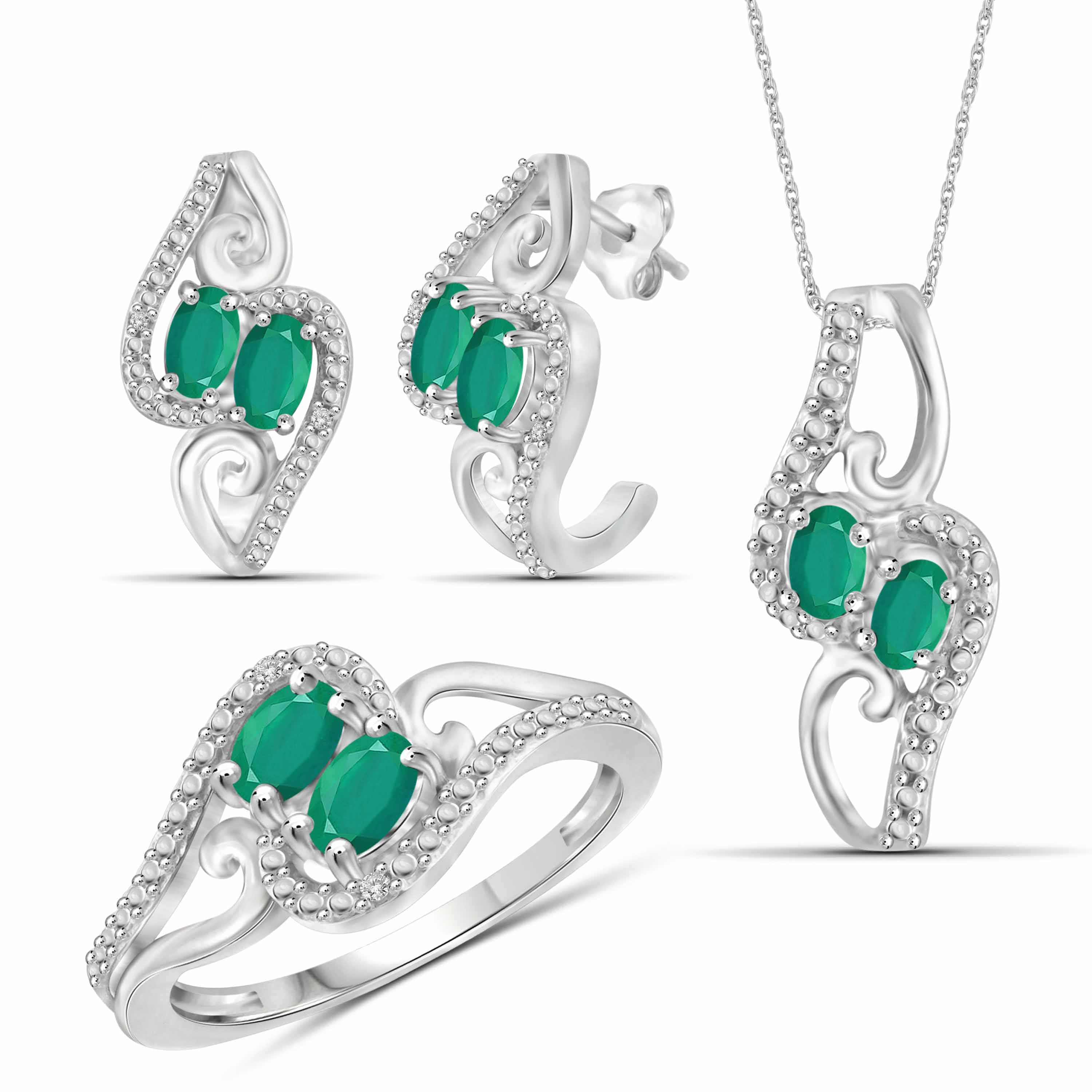 JewelersClub 1 3/4 Carat T.G.W. Emerald And White Diamond Accent Sterling Silver 3-Piece Jewelry set