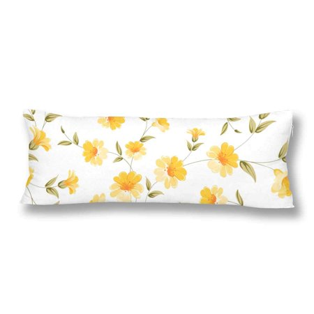 ABPHOTO Yellow Flral Flower Seamless Pattern Body Pillow Covers Case Protector 20x60 inch ()