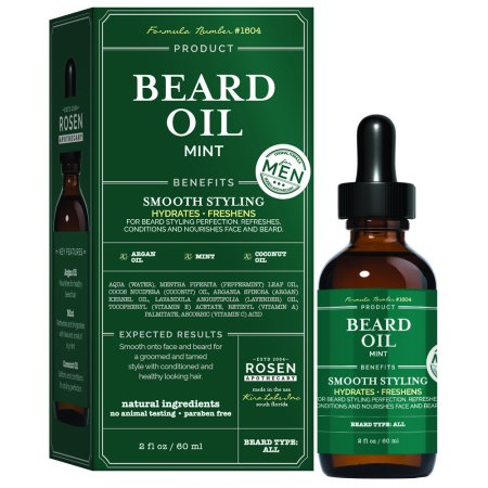 Rosen Apothecary Men's Natural Mint Beard Oil for Smooth Styling 2oz / 60ml