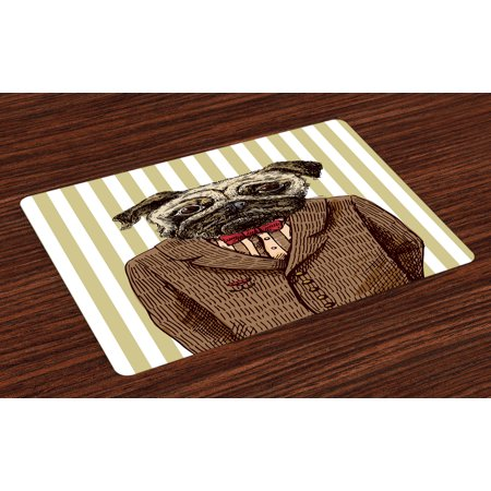 Pug Placemats Set of 4 Hand Drawn Sketch of Smart Dressed Dog Jacket Shirt Bow Suit Striped Background, Washable Fabric Place Mats for Dining Room Kitchen Table Decor,Brown Pale Brown, by Ambesonne
