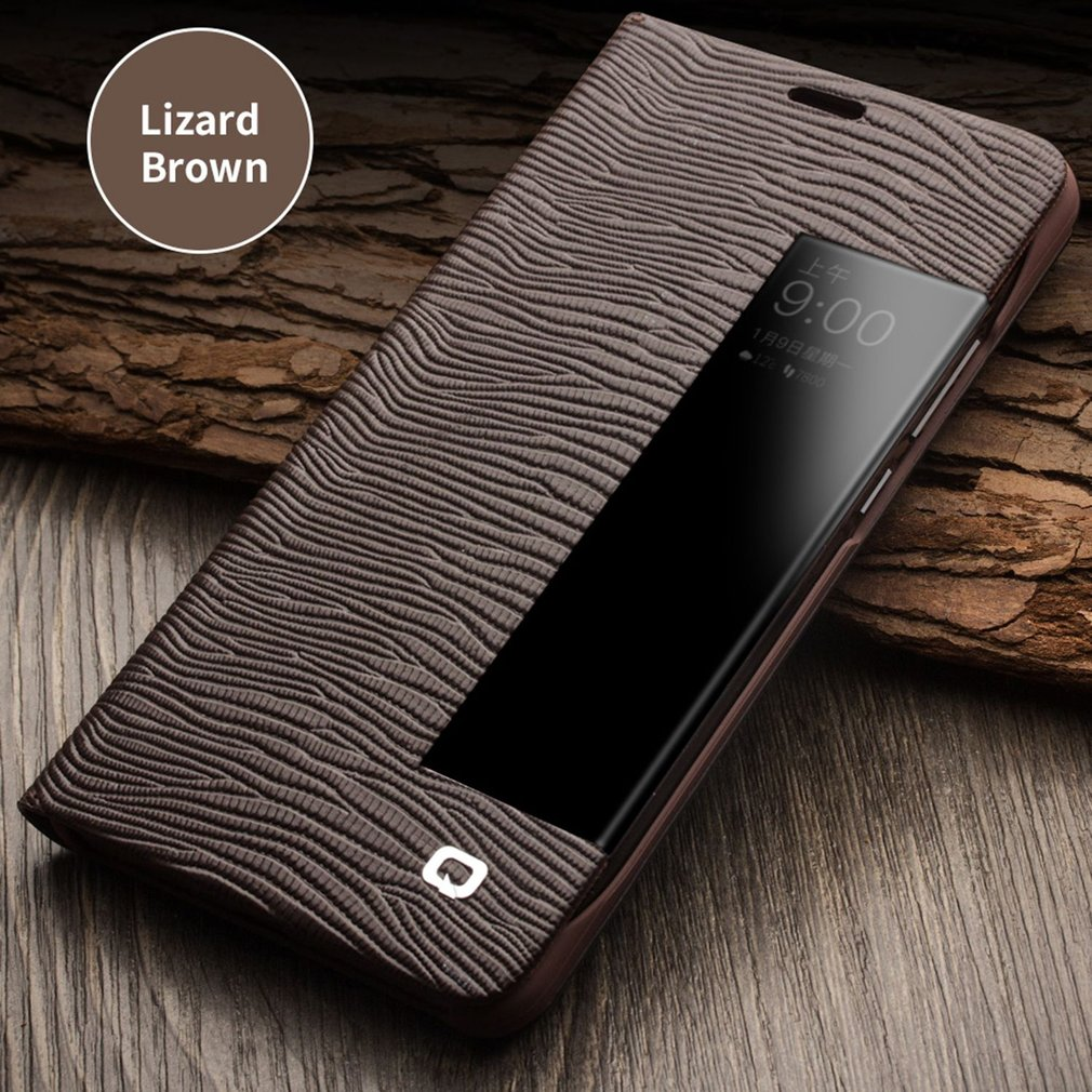 Fashion Lizard Grain Flip Case Cover for Huawei Mate 10/10 Pro with Smart View Window Auto Wake Up & Sleep Holster Stand