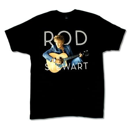 Rod Stewart Stripes Pic Image Tour 2014 NY-NJ Black T Shirt