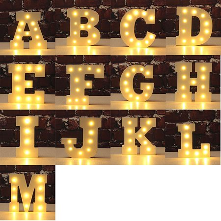 (6'' Wooden Marquee Letter Light Vintage Circus Style Alphabet Letter Nightlight Lamp Sign Light Up)