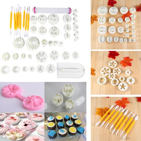 Knifun 46pcs Fondant Cake Decorating Flower Sugarcraft Cutter Tools Cookies Icing Mold, Sugarcraft Cutter Tools,Fondant Cake Decorating Flower - Cookie Decorating Tools