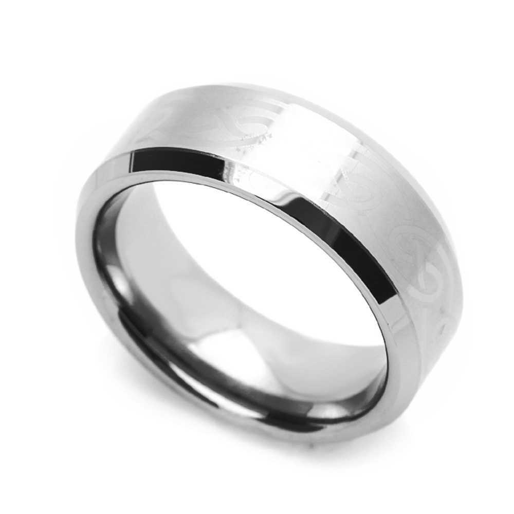 Women's 8MM Comfort Fit Tungsten Carbide Wedding Band Celtic Key Engraved Beveled Edges Ring (7 to 14), 8.5 by