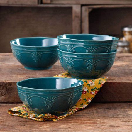 Antique Stoneware - Farmhouse Lace Bowl Set | Antique Finish Durable Stoneware Lace Bowl Set, 4-Pack (Ocean Teal) By The Pioneer Woman