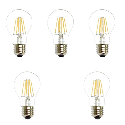 Anyray (5)-Bulbs 60 Watt Equivalent, A19, LED Light Bulb, Clear, E26, Vintage Edison Style, Warm White