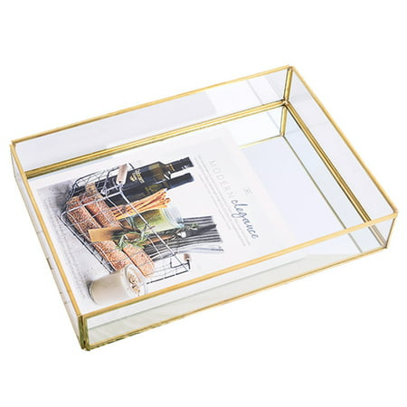 Siaonvr Tray Mirror Gold Mirror Tray Perfume Plate Makeup Plate Dressing Table