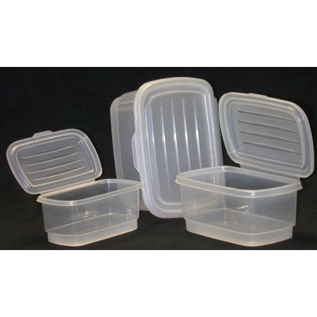 (Food Storage Containers Set, Nested, Attached Lids, Dishwasher, Freezer and Microwave Safe, Italian)