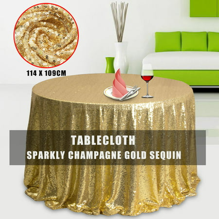 Champagne Gold Glitter Sparkly Sequin Fabric Tablecloth Tablecovers For Wedding/Event/Party/Banquet Photography Backdrop 50'X45'](Glitter Table Cloth)