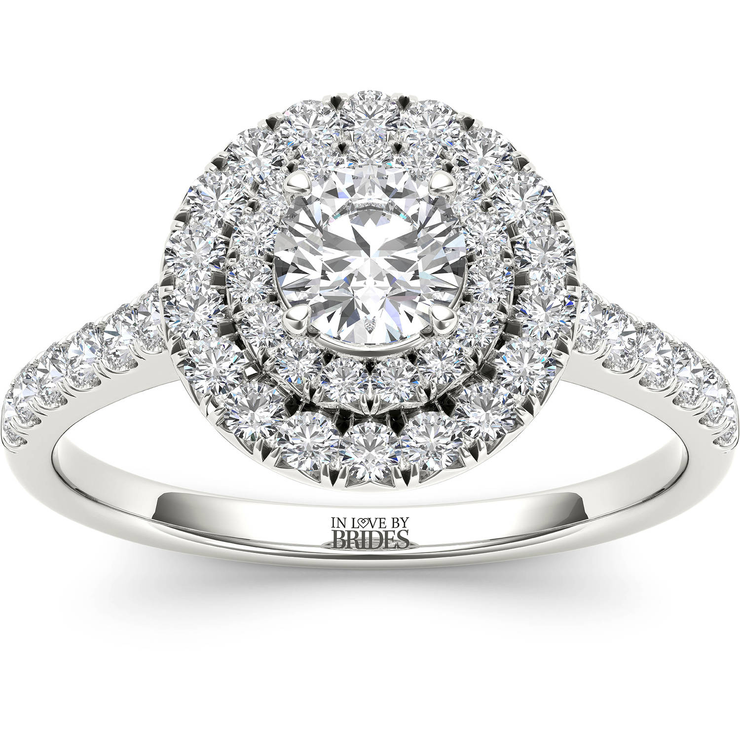 IN LOVE BY BRIDES 1.00 Carat T.W. Certified Diamond Round Classic Halo 14kt White Gold Engagement Ring