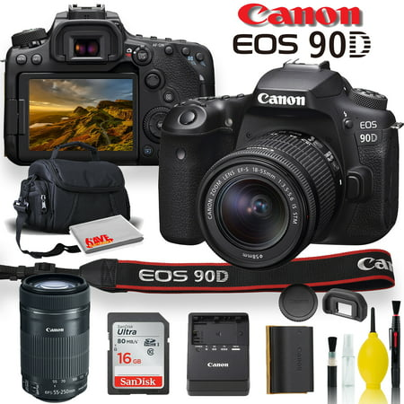 Canon EOS 90D DSLR Camera With 18-55mm Lens, Canon EF-S 55-250mm f/4-5.6 IS STM Lens, Soft Padded Case, Memory Card, and More