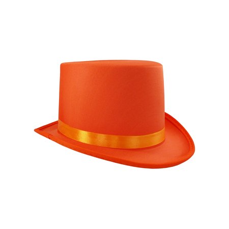 Soft Orange Satin Top Hat Costume Adult, One Size](Cheap Tophats)