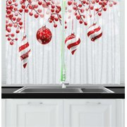 Christmas Curtains 2 Panels Set, Traditional Design Icons Holly Berry Branches with Snow and Bokeh Effect Print, Window Drapes for Living Room Bedroom, 55W X 39L Inches, Red White, by Ambesonne