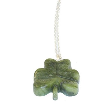 Irish Connemara Marble: Shamrock Carved Pendant